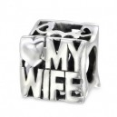 Stříbrný korálek na náramek- miluji mojí manželku